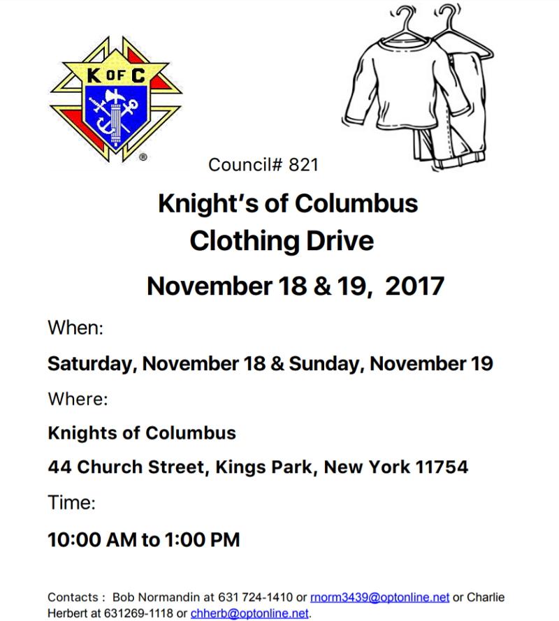 Knight of Columbus Clothing Drive – Nov 18 & 19, 2017 – Kings Park